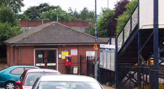 Droitwich Spa station entrance from car park