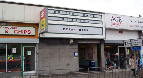 Perry Barr station building and entrance, Birchfield Road