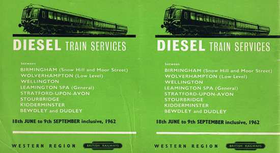 1962 Snow Hill to Dudley DMU timetable