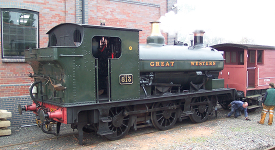 GWR 813 at Brownhills West station, Chasewater Railway
