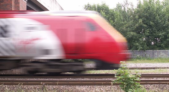 Virgin Pendolino speeds through Castle Bromwich station site