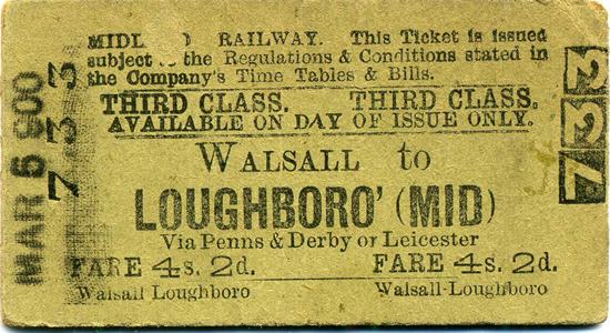 Midland Railway Walsall to Loughboro' third class ticket