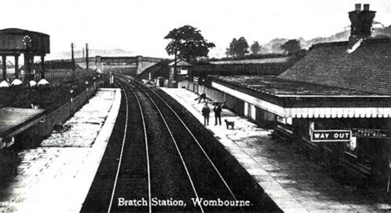 Wombourne station 1925 postcard