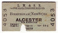Alcester - New Street station ticket