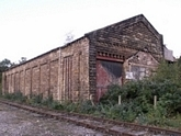 Matlock station goods shed from trackside