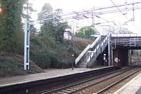 Hampton-in-Arden station Birmingham platform and footbridge