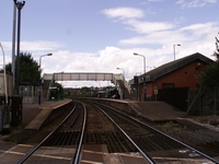 Cradley Heath station from level crossing, Woods Lane