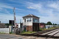 Hartlebury station signal box viewed from level crossing