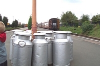 Co-op milk churns at Kidderminster station