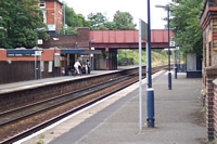 Kidderminster station and road bridge from Worcester platform