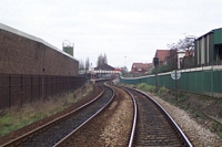 Langley Green station from Station Road level crossing
