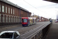 Monmore Green station GWR bridge and Midland Metro