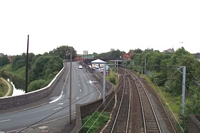 Smethwick Rolfe Street station view from North Western Street footbridge