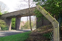 Halesowen Railway trackbed footbridge within Longbridge Rover works