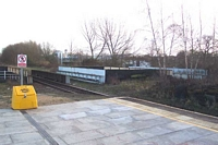Solihull station, Blossomfield Road bridge supports & lifted line