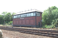 Stourbridge Junction station signal box viewed from car park