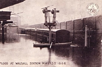 Walsall station flooded in 1886